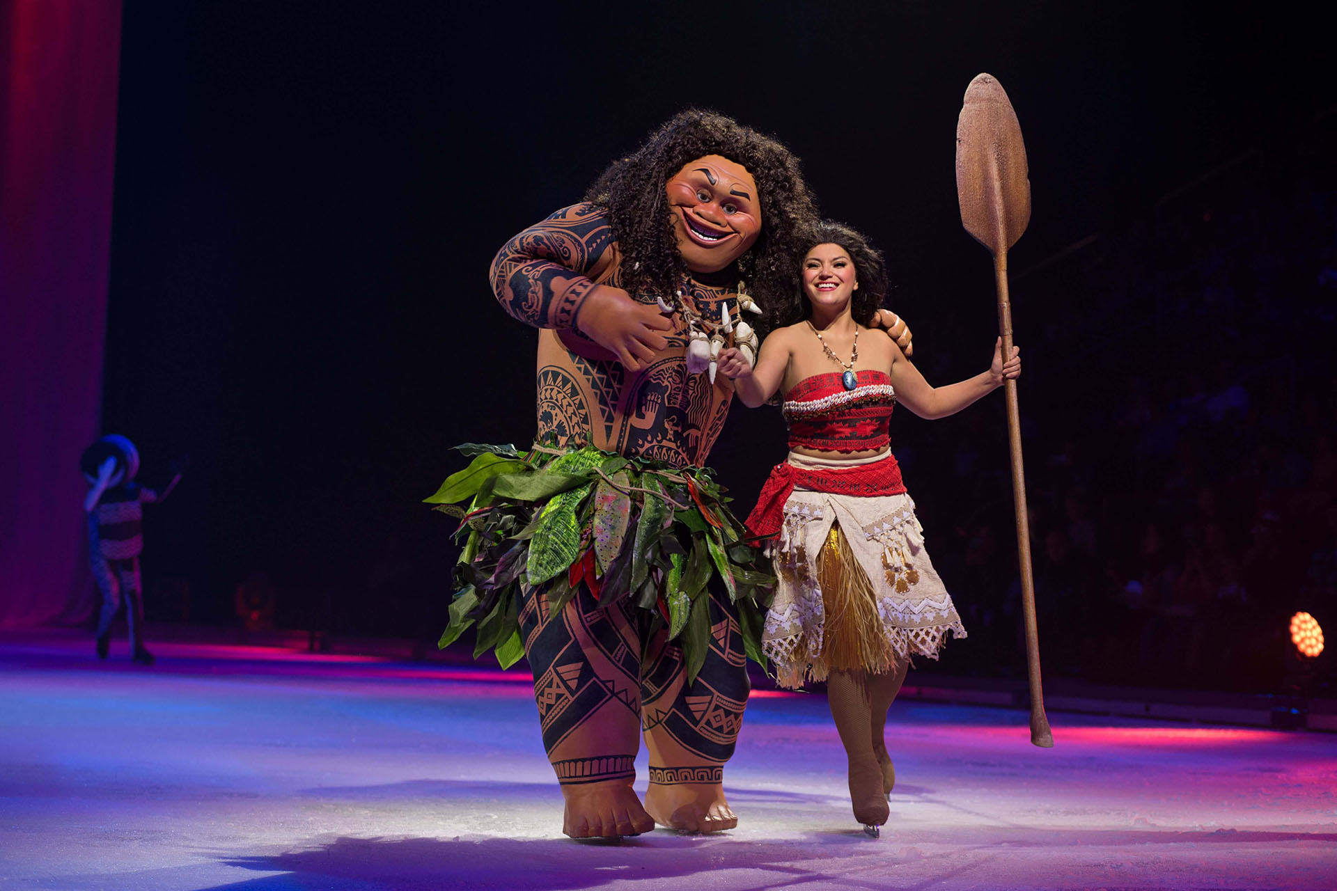 Moana and Maui skating on ice