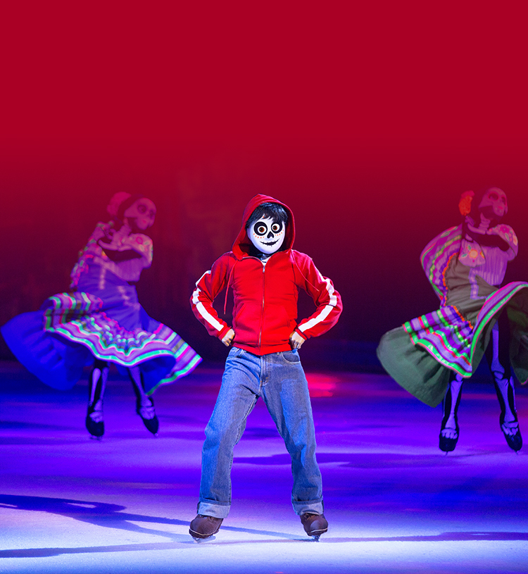 Miguel from Disneys movie Coco skating and dancing on ice