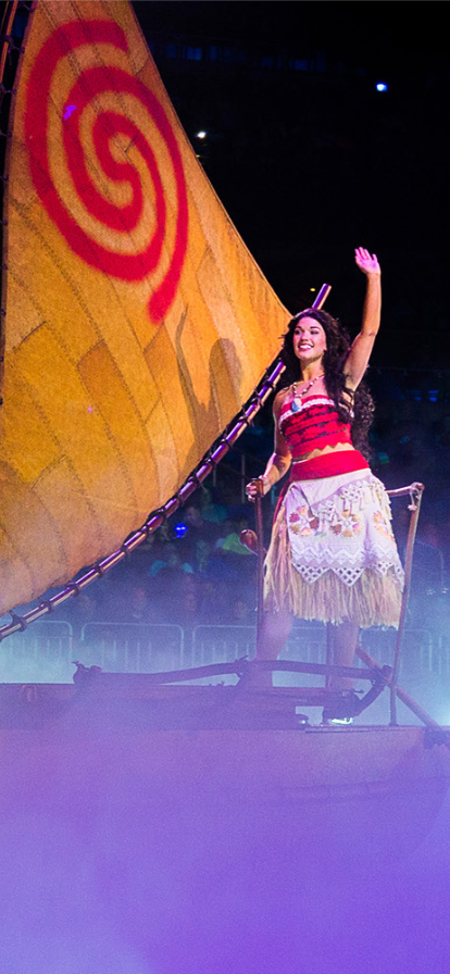 Moana sailing the seas on a boat