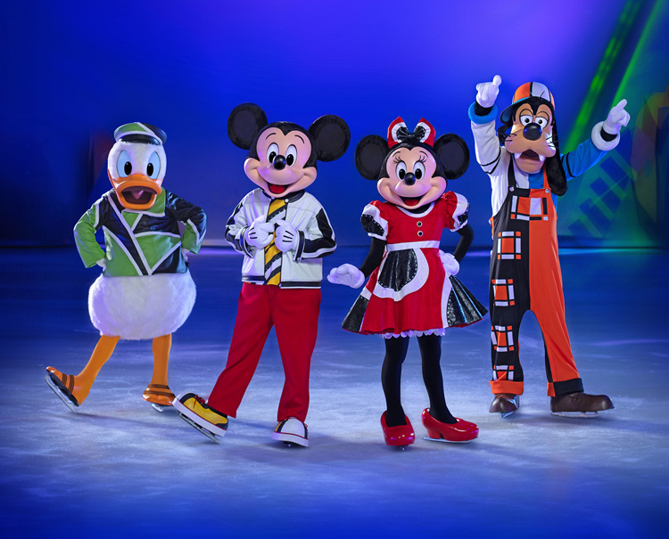 Donald duck, Mickey Mouse, Minnie Mouse and Goofy skating on ice