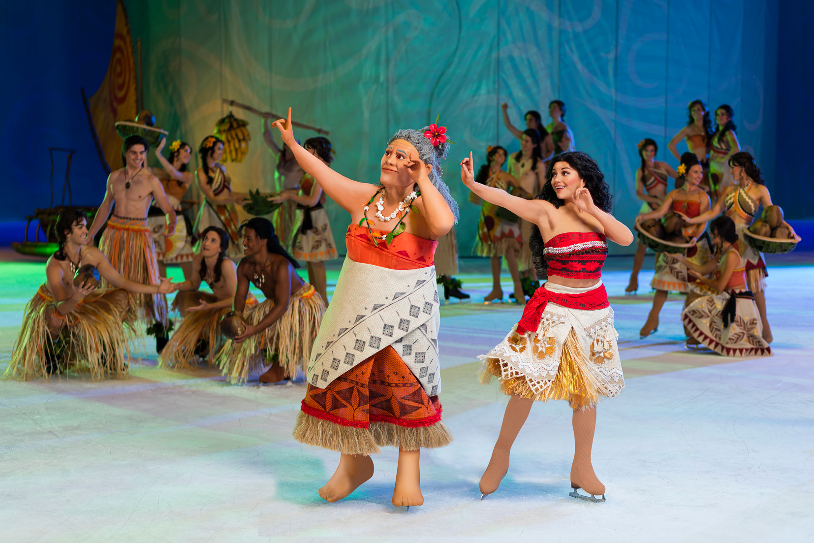 Moana and family singing and dancing on ice