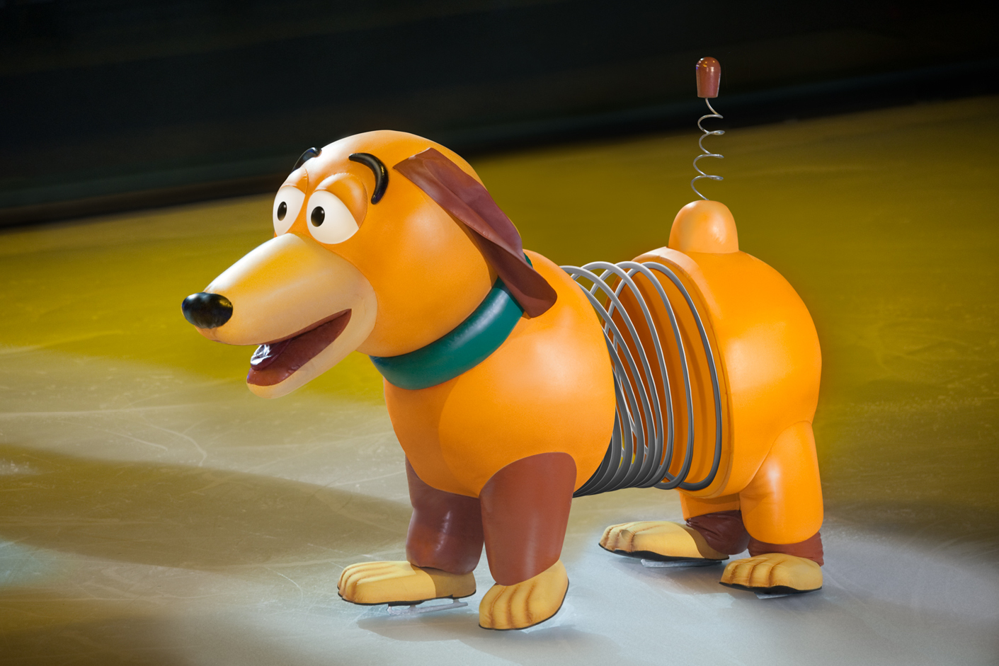 Slinky dog from Disney's Toy Story skating on ice
