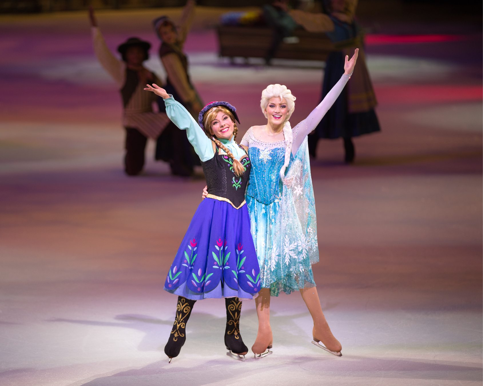 Elsa and Anna dancing on ice
