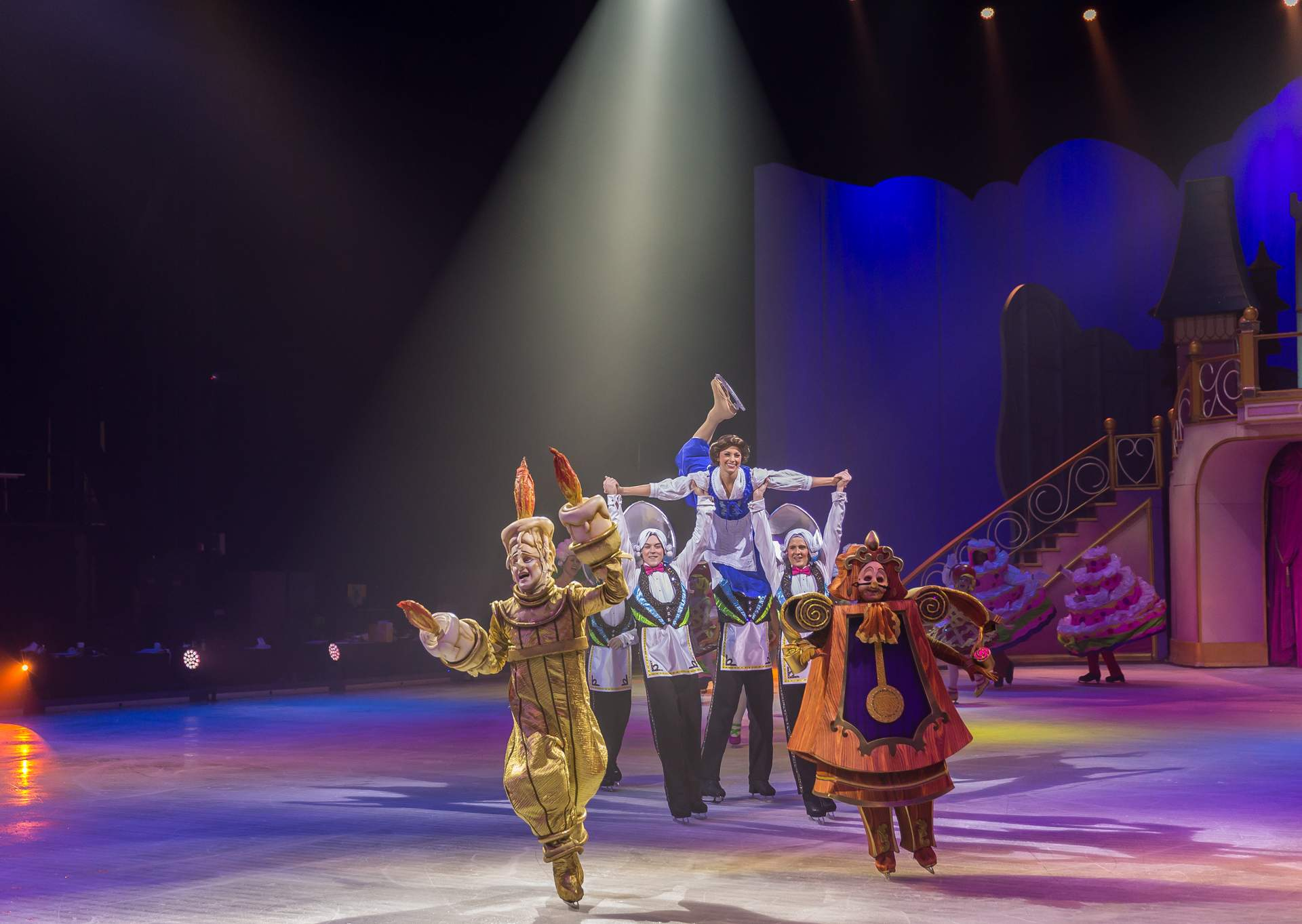 Beauty and the beast character dancing on ice