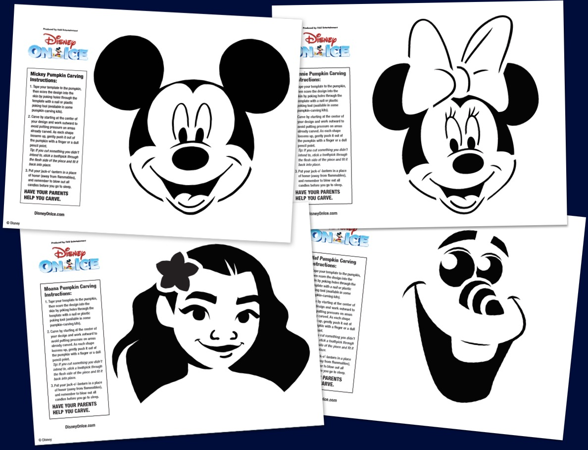 Download & print these Disney On Ice Halloween pumpkin carving stencils