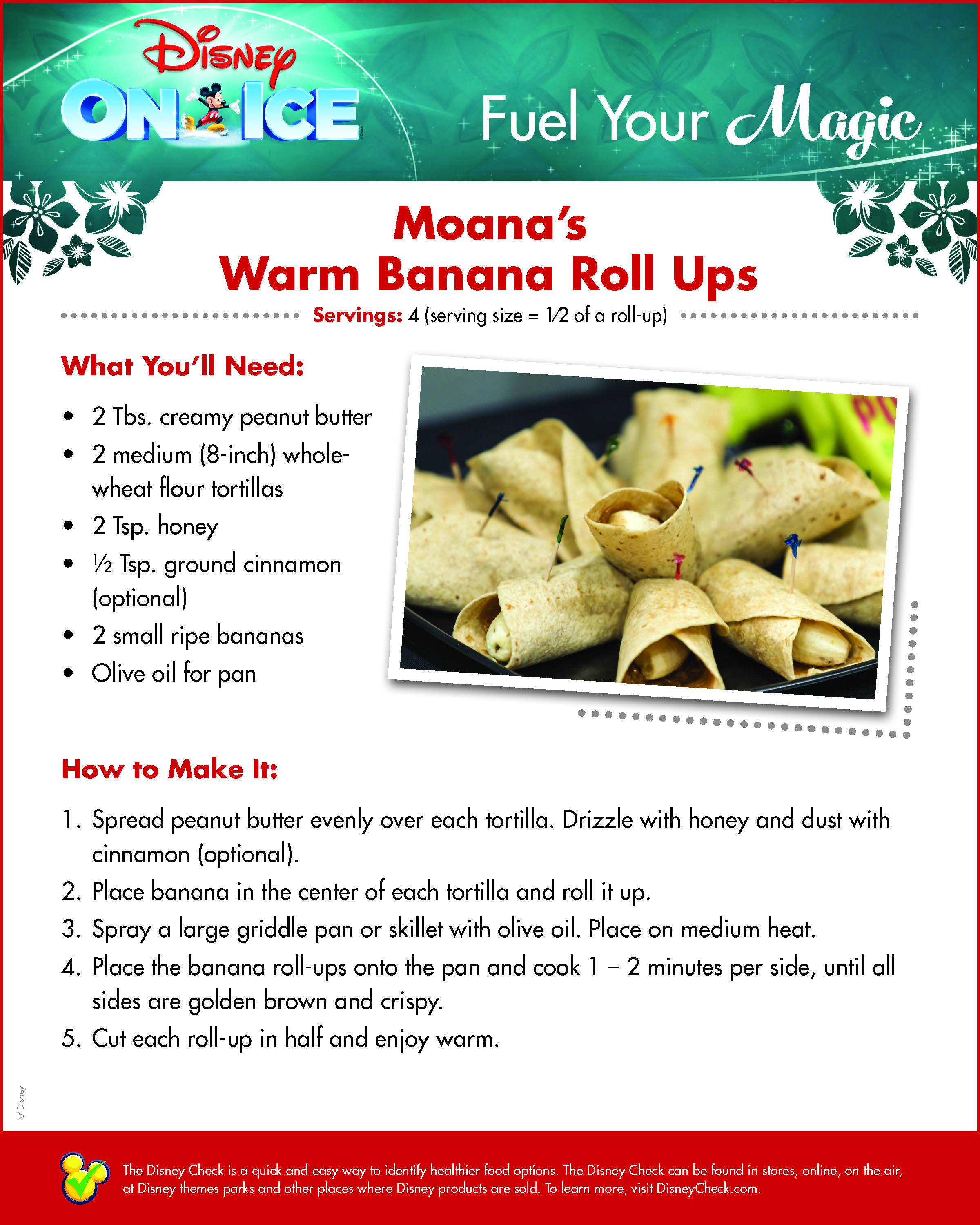 Moana's Warm Banana Roll Ups